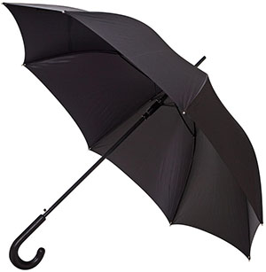 Ludwig Reiter Non-tear woven synthetic fabric, solid carbon-steel framework, thoroughly sewn leather handle. Black, leather handle made of black Bookbinder calf umbrella: €259.
