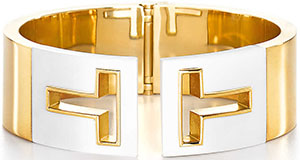 Tiffany T Cutout Women's Cuff In 18k gold with white ceramic.
