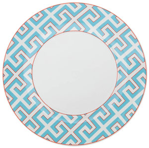 Dinner plate, Shape 'Meissen Cosmopoliten', Royal Palace, Miami Style with red contour, 30 cm.