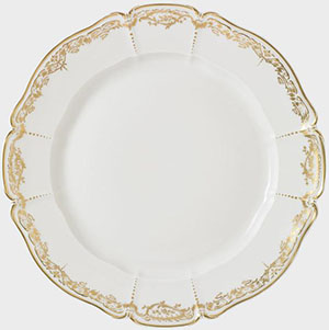 Nymphenburg Porcelain Brocade dinner plate, white, glazed, hand-painted gold lace edge, 26 cm.
