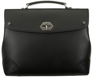 Cesare Paciotti black leather briefcase with a special metal closure system with a logo and special matelassé corners: US$1,248.