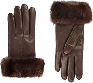 Harrods Mink Fur Trimmed Women's Leather Gloves: £129.