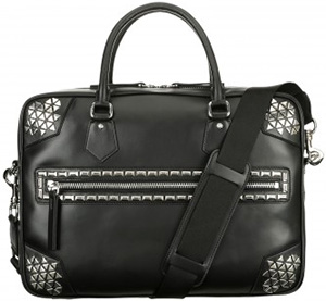 Cesare Paciotti overnight bag in black leather has a captivating 'mosaic' of metal plates: US$1,310.