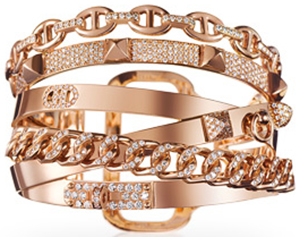 Hermès women's bracelet in rose gold with diamonds. 568 diamonds, 4.71 total carat weight, TGM, size small: US$118,400.