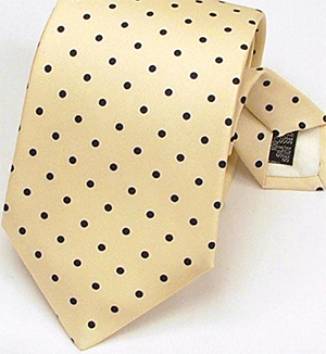 Bromleys Yellow Black Polka Dot Printed Silk Tie: £14.