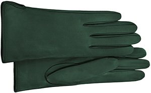 Forzieri Forest Green Calf Leather Women's Gloves w/Silk Lining.