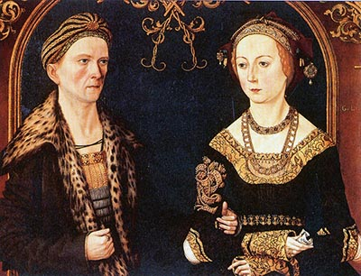 Portrait of Jakob Fugger and Sibylla Artzt (1498) by Hans Burgkmair.