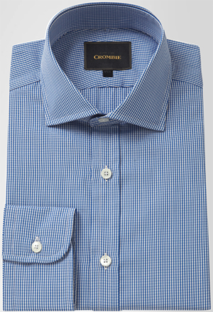 Crombie Pure Cotton Blue Micro Gingham Cutaway Collar Single Cuff men's shirt: £150.