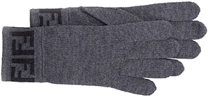Fendi Men's Zucca Knit Gloves, Gray/Black: US$150.
