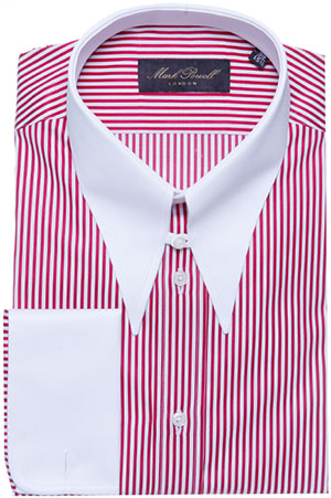 Mark Powell Spear Tab Collar Shirt Stripe Red/White Men's Shirt: £150.