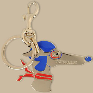 Trussardi Women's Brass and enamel key ring with lobster claw clasp. Artisan-made in Italy.