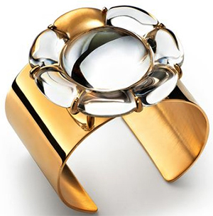 Baccarat B Flower Cuff bracelet crystal and vermeil: US$915.