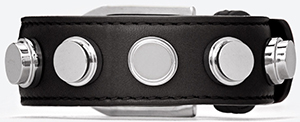 Yves Saint Laurent men's classic bracelet de force cuff in black leather and silver toned brass: US$495.