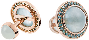 Misahara Stena rose gold, aquamarine & blue diamonds cufflinks: £4,173.