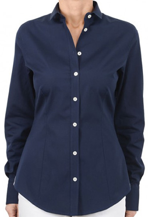Bruli Swiss Vintage La Donna two-ply popeline ladie blouse in navy blue.