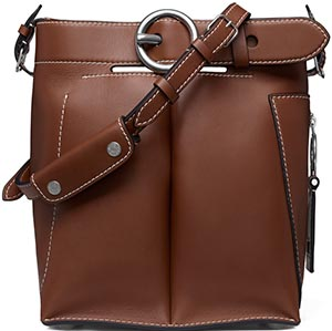 Acne Studios Buckle jeans cognac bag: US$1,750.