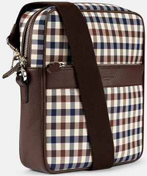 Aquascutum men's Club Check Across Body Bag Brown: £160.