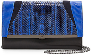 Brian Atwood Khirma Katerine Mixed Exotic Clutch Bag, Black/Ink: US$1,295.