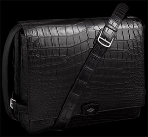 Cartier Louis Cartier Messenger Bag black matt porosus crocodile skin, palladium finish: £30,600.