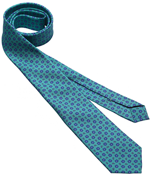Davidoff 5-Fold Tie in Mini Flowers Printed Bright Aqua.