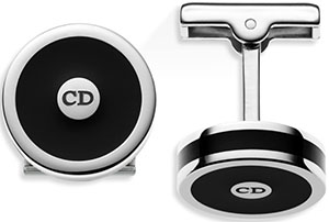 Dior palladium finish and black lacquer cufflinks.