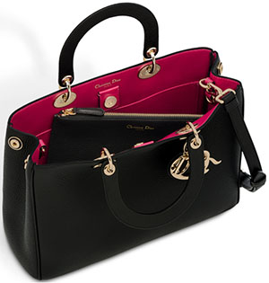 Dior Diorissimo Handbag in Black Bullcalf Leather.