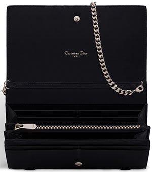 Dior Women's Diorama Rendez-Vous Wallet in Black Lambskin.