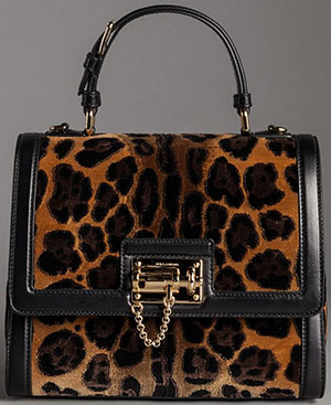 Dolce&Gabbana Women's Nappa Leather and Velvet Leo Print Monaca Bag: US$4,495.