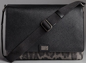 Dolce&Gabbana Men's Dauphine Leopard Print Textured Leather Volcano Messenger Bag: US$1,095.