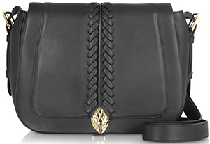Forzieri Roberto Cavalli Serpent Black Smooth Leather Medium Flap Shoulder Bag: US$2,060.