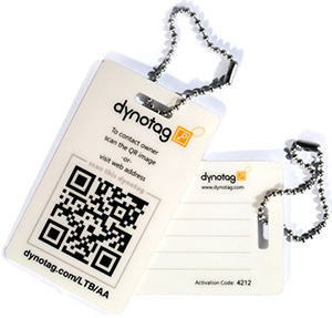Dynotag Web/GPS Enabled QR Smart Luggage Tag Set - 2 Unique Tags with Chains.