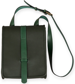 Dunmore men's Elgin dark green leather satchel: £295.