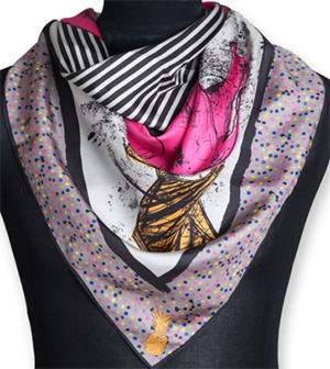 Dunmore women's Emma Silk Scarf (Hot Pink Elephants): £69.