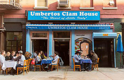 Umbertos Clam House, 132 Mulberry St, Frnt 1, New York City, NY 10013-0481.