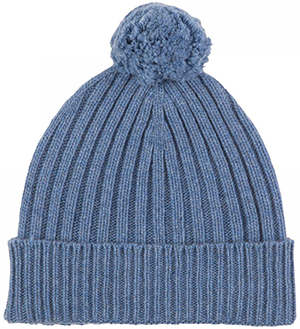 Johnstons of Elgin Cashmere Chunky Rib Hat with Pom Pom: US$120.