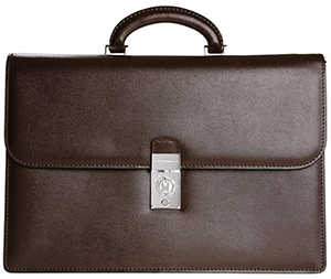 Moreschi two-gusset briefcase in embossed saffiano calfskin: €695.