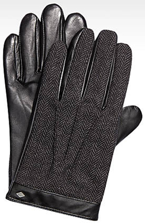 Joseph Abboud Black Leather & Wool Herringbone Gloves: US$95.