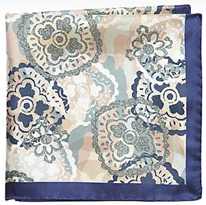 Joseph Abboud Blue Floral Silk Pocket Square.
