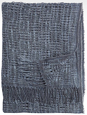 Joseph Abboud Woven Blue Wool-Blend men's scarf: US$95.