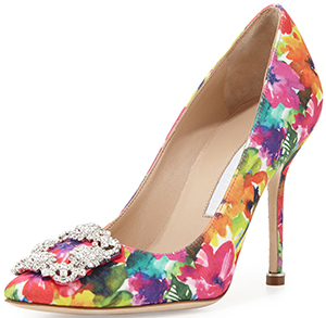 Manolo Blahnik Hangisi Floral-Print 105mm Pump, Multicolor: US$985.