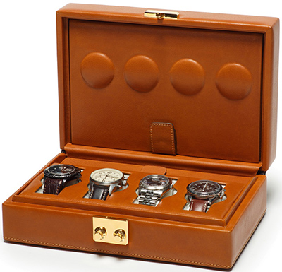 Ghurka Timekeeper No. 213 Leather Watch Case | Chestnut: US$2,995.