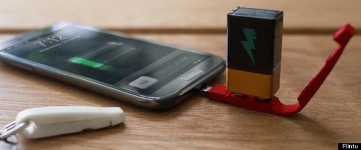 This Keychain Lets You Charge Your Phone With A 9-Volt Battery.