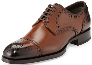 Neiman Marcus Tom Ford Edward Med-Cap Wing-Tip Derby Shoe, Brown.