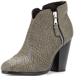 Neiman Marcus Rag & Bone Margot Leather Ankle Boot, Iron.