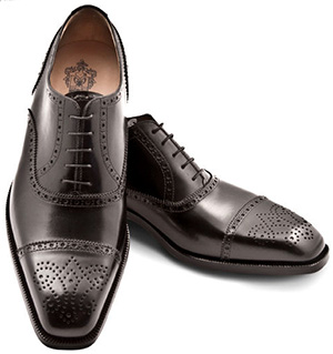 Pineider Men's Leather Shoes - Black Semi Brogue Oxford: US$795.