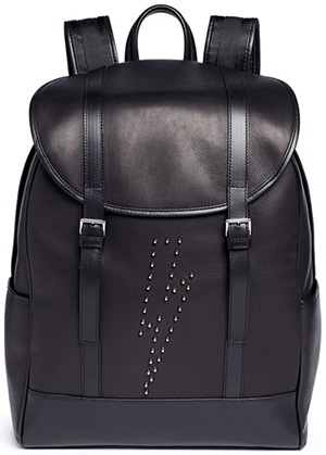 Neil Barrett Black 'memphis' Lightning Bolt Stud Backpack: €770.