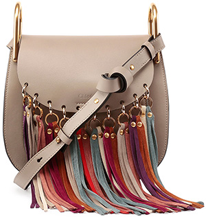 Chloe Hudson Fringe-Trim Leather Shoulder Bag, Gray: US$2,390.