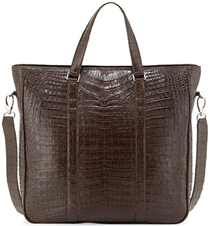 Santiago Gonzales Crocodile Zip-Top Tote Bag, Chocolate: US$5,500.