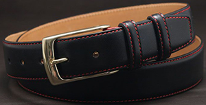 Jan Kielman Black calfskin topstitched men's belt with red thread. Brass buckle by 'JK 1883', 35 mm in width.