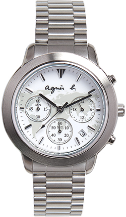 Agnès B. men's white brushed steel watch: US$415.